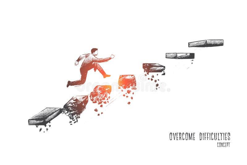 Supere el concepto de las dificultades Vector drenado mano libre illustration