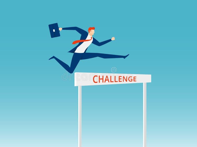 Supere obstáculos e conceito do sucesso Homem de negócios que guarda a pasta que salta sobre o obstáculo da raça de obstáculo ilustração do vetor