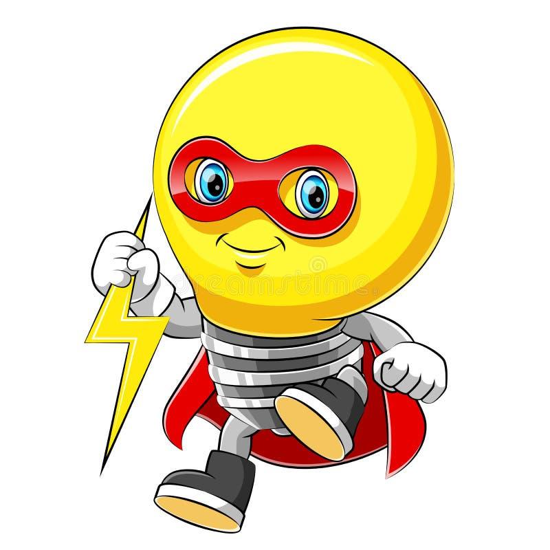 Supereroe allegro della lampadina del personaggio dei cartoni animati della mascotte in un mantello rosso illustrazione vettoriale