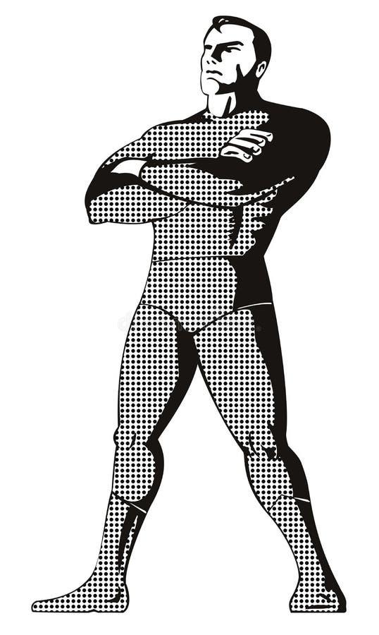 Supereroe che si leva in piedi in su illustrazione di stock