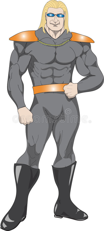 Supereroe che sta con confidenza illustrazione di stock