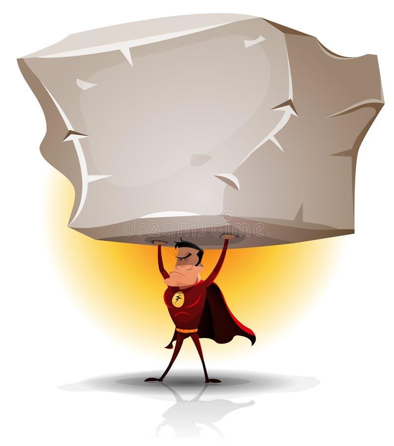 Supereroe che tiene grande Boulder pesante illustrazione di stock