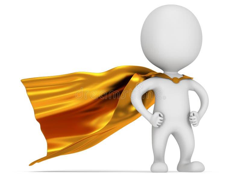 Supereroe coraggioso con il mantello dell'oro illustrazione di stock