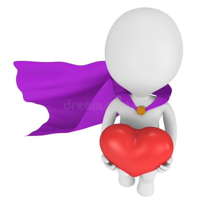 Supereroe coraggioso nell'amore con grande cuore rosso illustrazione di stock