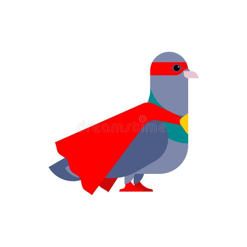 Supereroe della colomba Piccione eccellente in impermeabile e nella maschera Uccello delle superpotenze Vettore di stile del fume illustrazione vettoriale