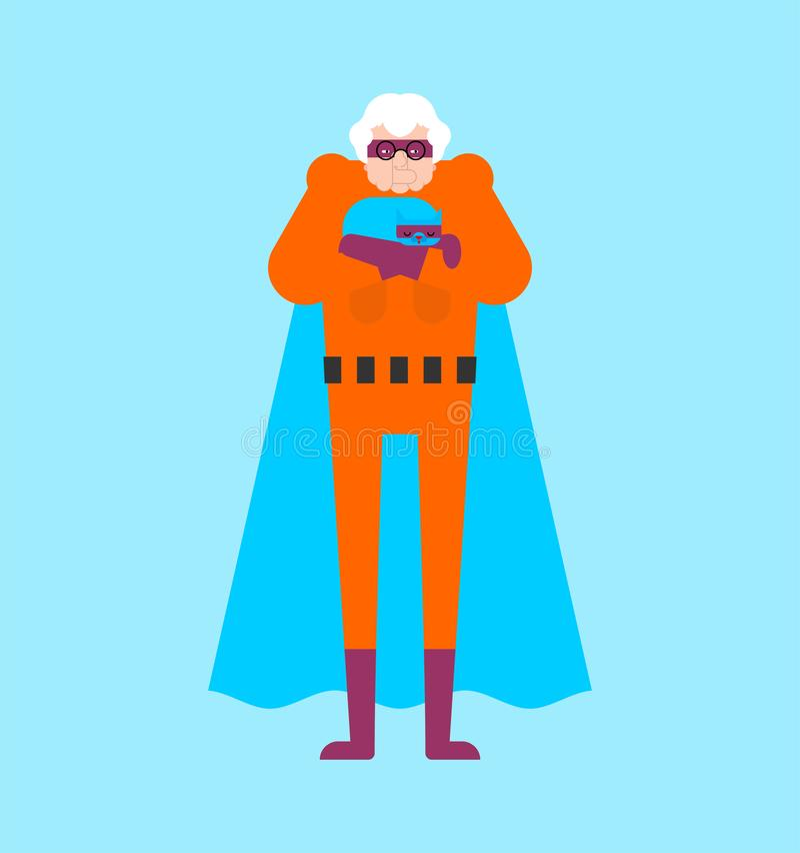 Supereroe della nonna isolato Nonna eccellente Donna anziana delle superpotenze Vettore di stile del fumetto illustrazione di stock