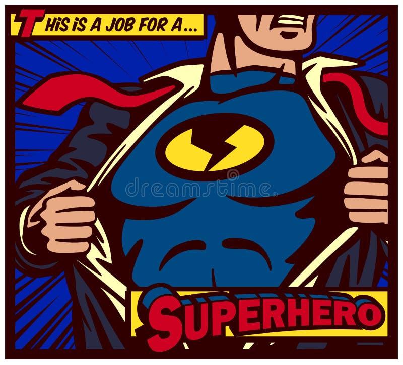 Supereroe di stile dei fumetti di Pop art che strappa camicia e che indossa il manifesto di vettore del costume illustrazione vettoriale