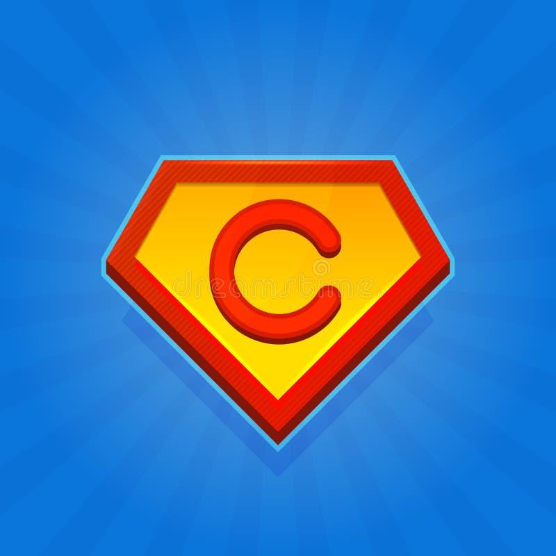 Supereroe Logo Icon con la lettera C su fondo blu Vettore illustrazione di stock