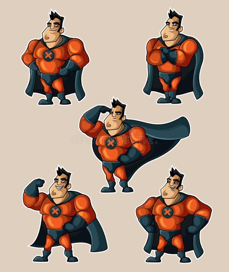Supereroe nelle pose differenti illustrazione di stock
