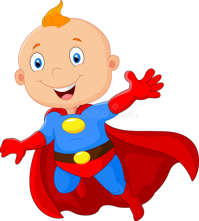 Supereroe sveglio del bambino del fumetto illustrazione di stock