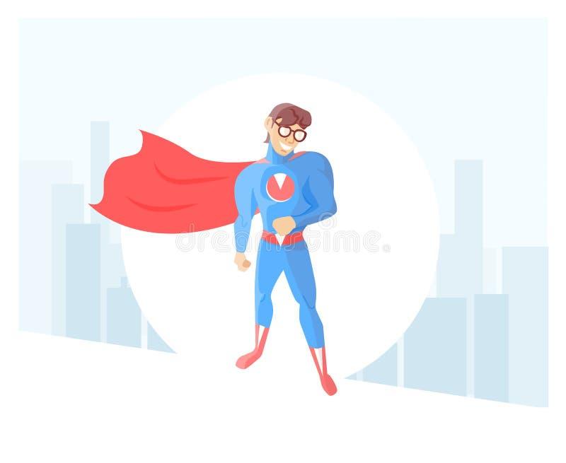 Supereroe timido, nerd, in impermeabile e vetri contro lo sfondo della città Illustrazione moderna di vettore nello stile minimal illustrazione di stock