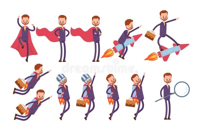 Supereroe in un mantello rosso, mosche su un razzo, sulla a royalty illustrazione gratis
