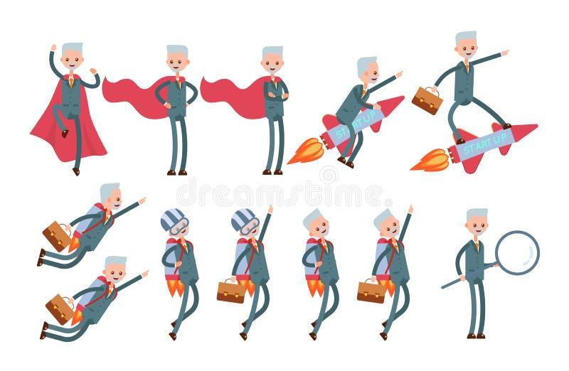 Supereroe in un mantello rosso, mosche su un razzo, sulla a illustrazione vettoriale