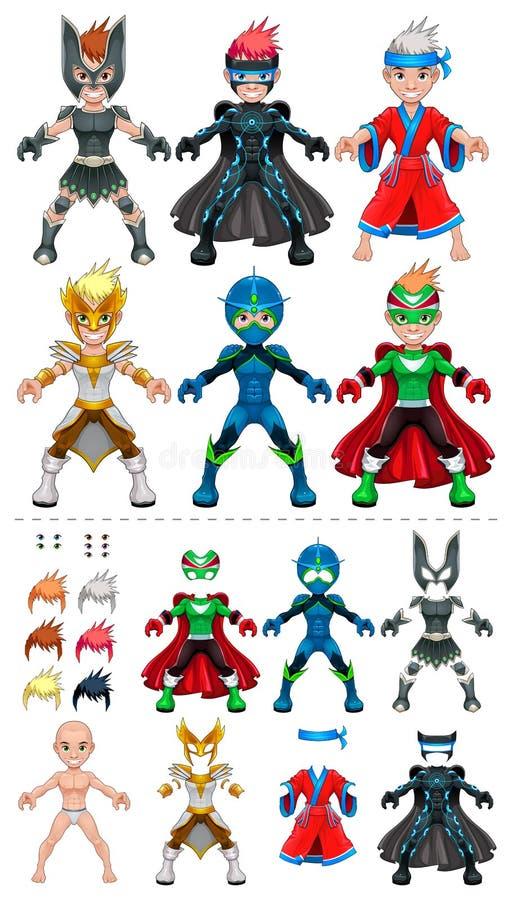 Supereroi dell'avatar, oggetti isolati illustrazione di stock