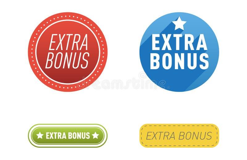 Superextraprämienfahnen simsen in Farbe gezeichneten Aufklebern, Geschäftseinkaufskonzeptvektorinternet-Förderungseinkaufen lizenzfreie abbildung