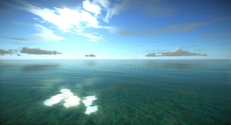 A superfície da água clara do oceano tropical, gaivotas está voando no céu no dia ensolarado ilustração do vetor