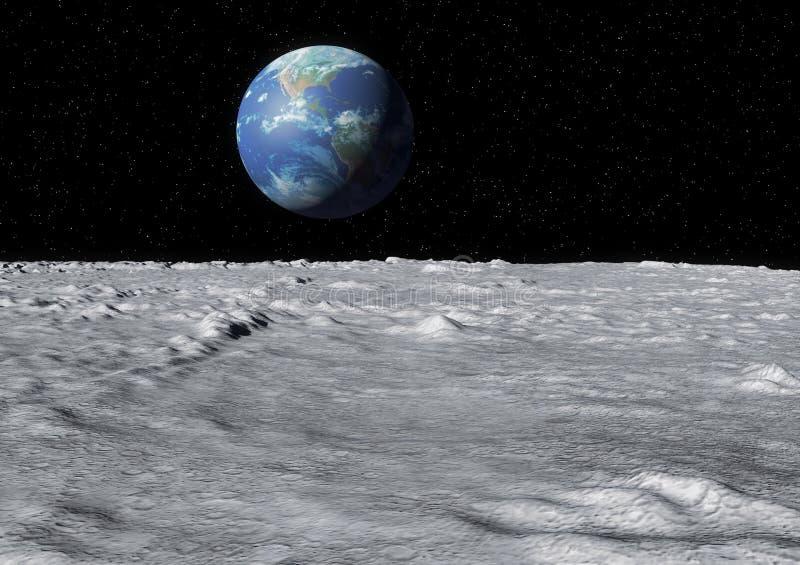Superfície da lua da terra ilustração stock