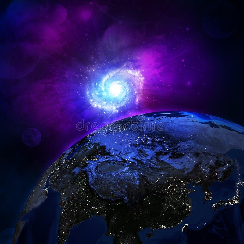 Superfície da noite da terra do planeta ilustração royalty free