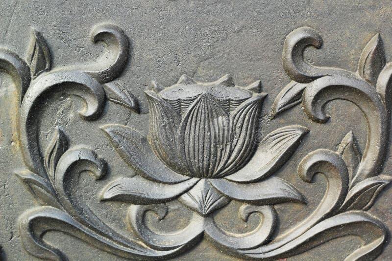 Superfície da parede do bronze do estilo do templo em Coreia. fotografia de stock