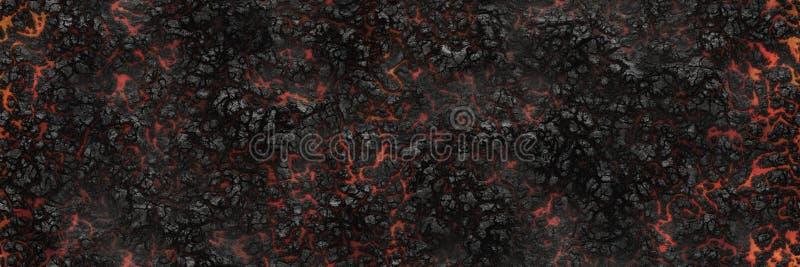 Superfície de incandescência queimada do carvão vegetal dos carvões Teste padrão abstrato da natureza ilustração do vetor