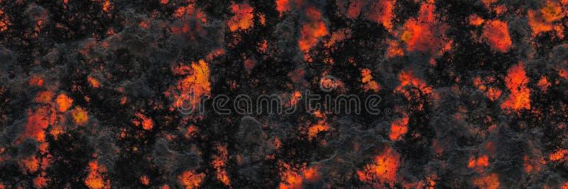 Superfície de incandescência queimada do carvão vegetal dos carvões Teste padrão abstrato da natureza ilustração stock