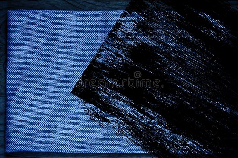 Superfície de linho ultra azul da tela do Grunge para o uso do modelo ou do desenhista, amostra da capa do livro, amostra de folh ilustração do vetor