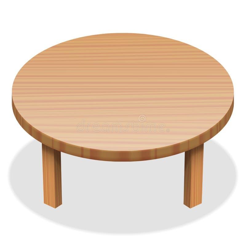 Superfície de madeira da mesa redonda ilustração do vetor