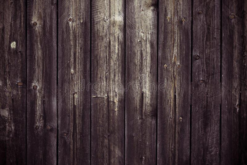 Superfície de madeira marrom escura da prancha Fundo de madeira da textura Tabela de carvalho, assoalho gasto Teste padrão do vin foto de stock
