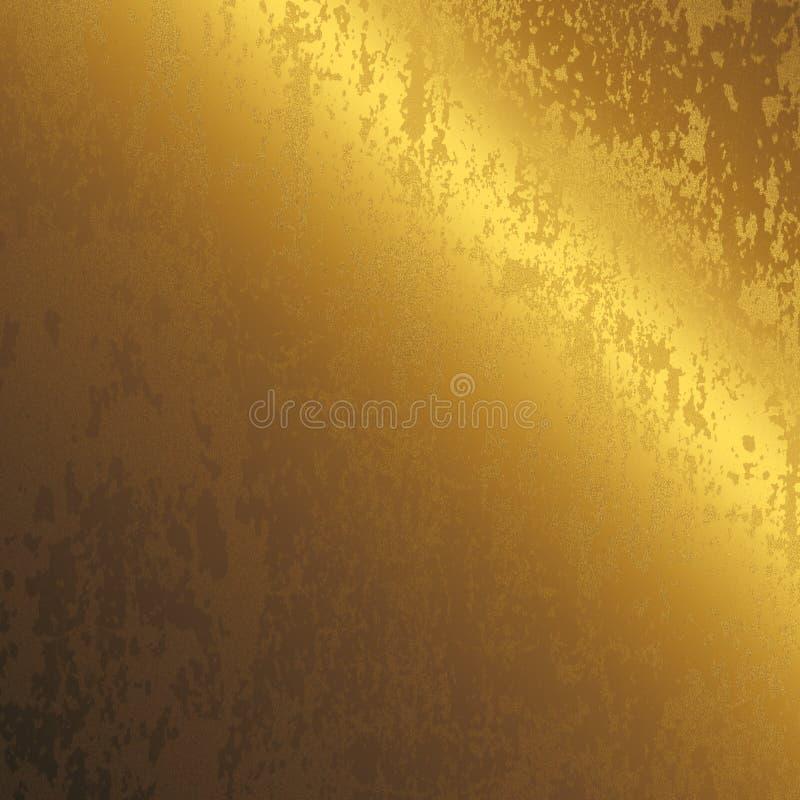 Superfície de metal riscada do ouro, fundo ilustração do vetor