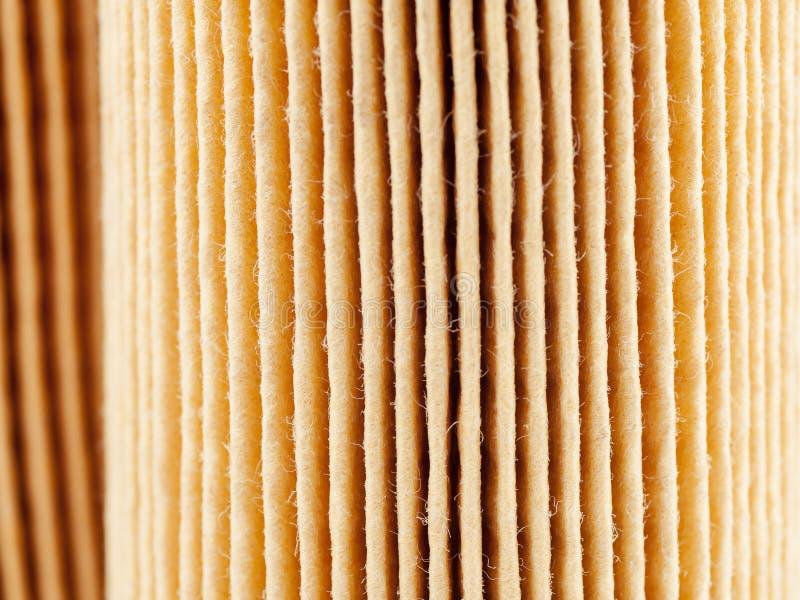 Superfície de papel do filtro de ar do carro, empilhamento do foco foto de stock