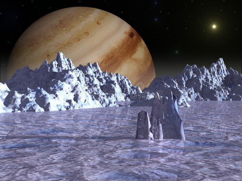 Superfície do Europa da lua do Júpiter ilustração royalty free