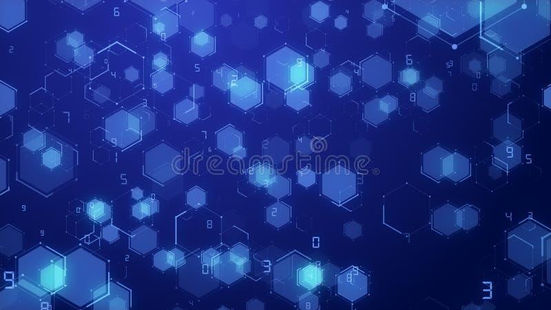 Superfície futurista azul abstrata do número de código do fundo da tecnologia digital do favo de mel do hexágono ilustração royalty free