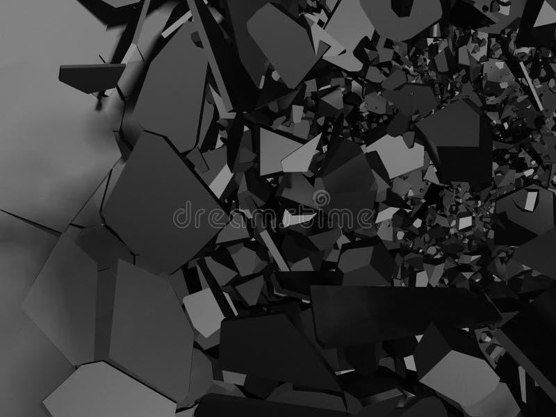 Superfície metálica rachada da parede com furo da demolição da explosão ilustração stock