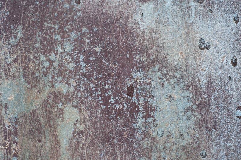 A superfície riscada oxidada envelhecida pintou o fundo da textura do metal fotografia de stock royalty free