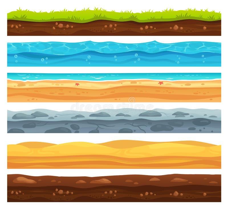Superfície sem emenda da terra Paisagem da terra da grama verde, deserto arenoso e praia com água do mar Vetor das camadas das te ilustração do vetor