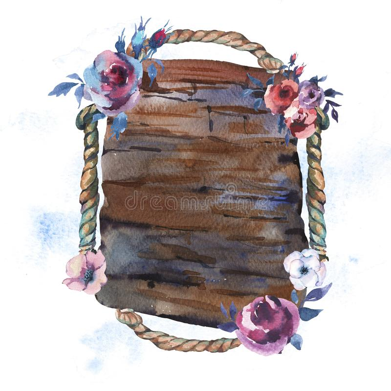 Superfície textured de madeira rústica floral e corda da aquarela ilustração royalty free