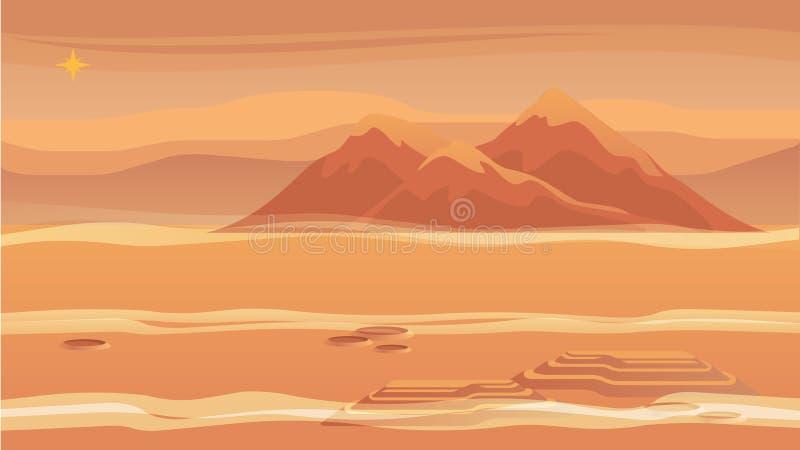 Superfície vermelha do planeta da paisagem da montanha do panorama ilustração stock
