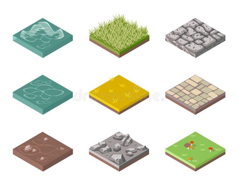 Superfícies da terra Grama, rochas e água ilustração stock
