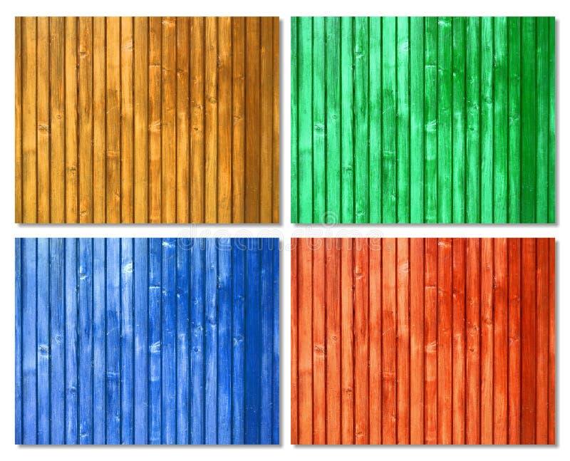 Superfícies de madeira coloridas piquete fotos de stock royalty free