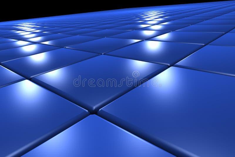superficial 3D formado por los cuadrados azules fotos de archivo