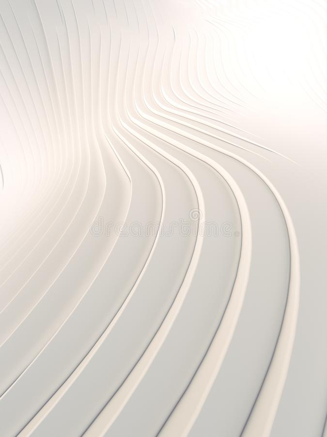 Superficie abstracta blanca del fondo de la curva de la onda Ejemplo de Digitaces representaci?n 3d ilustración del vector