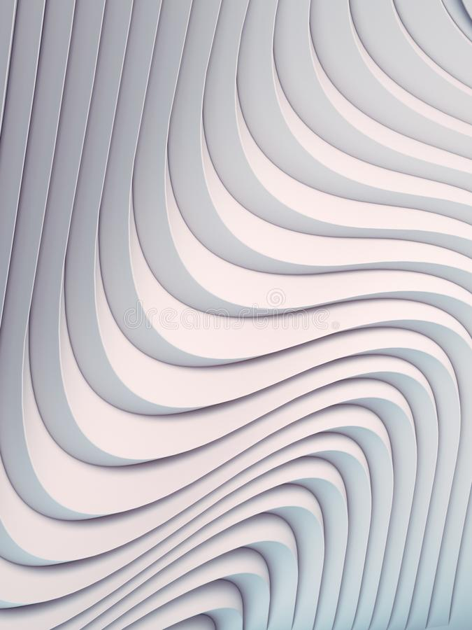Superficie abstracta blanca del fondo de la curva de la onda Ejemplo de Digitaces representaci?n 3d stock de ilustración
