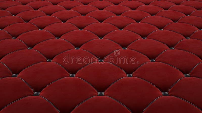 Superficie acolchada de la tela Terciopelo rojo y cuero negro Opci?n 1 ilustración del vector