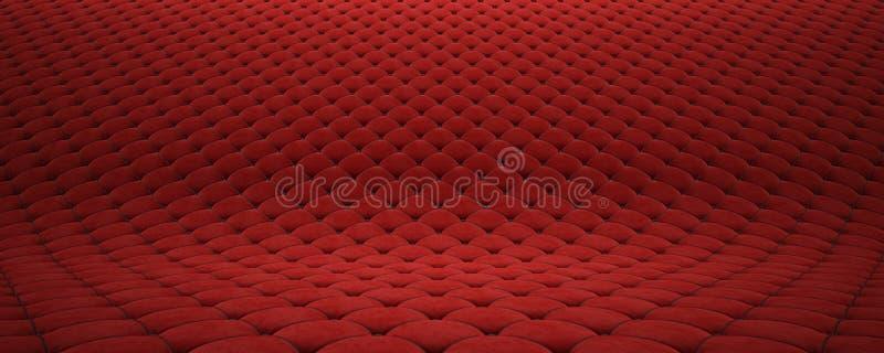Superficie acolchada de la tela Terciopelo rojo y cuero negro Opci?n 2 stock de ilustración