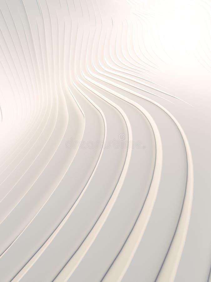 Superficie astratta bianca del fondo della curvatura di Wave Illustrazione di Digital rappresentazione 3d illustrazione vettoriale