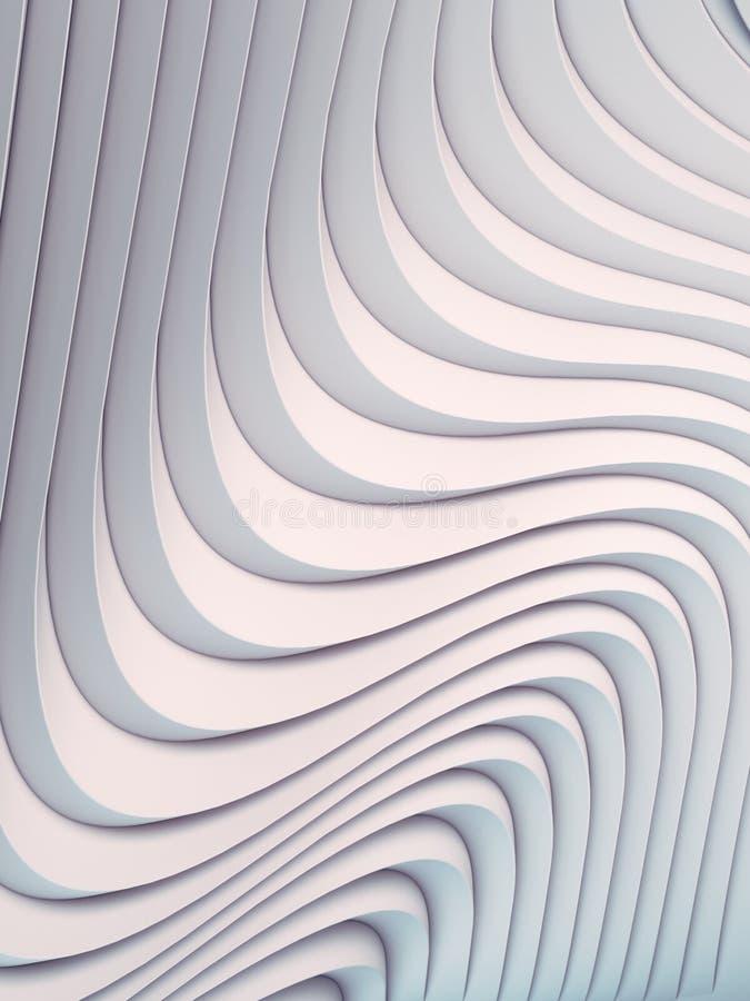 Superficie astratta bianca del fondo della curvatura di Wave Illustrazione di Digital rappresentazione 3d illustrazione di stock