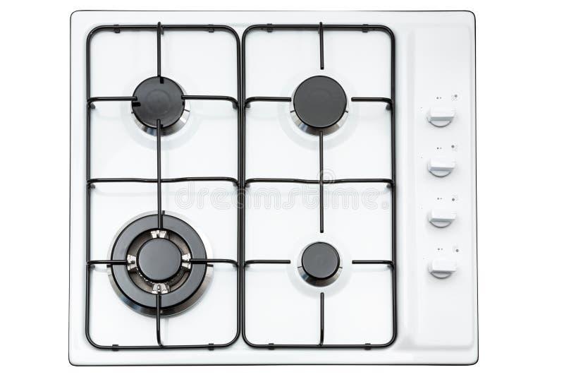 Superficie blanca de la cocina con la parrilla negra del metal Visión desde arriba fotos de archivo libres de regalías