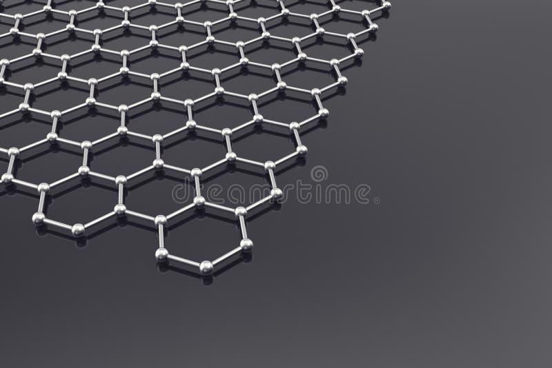 Superficie de Graphene, fondo de la nanotecnología ilustración 3D imagen de archivo libre de regalías