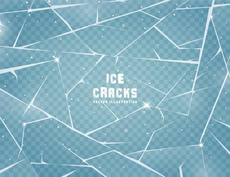 Superficie de hielo realista y agrietada Vidrio congelado con grietas y arañazos Ilustración del vector ilustración del vector