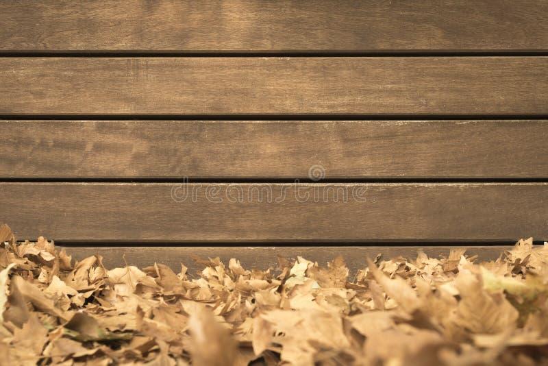 Superficie de la pared de madera con las hojas de otoño caidas imagen de archivo libre de regalías